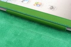 Funda en piel Ipad color verde - detalle interior