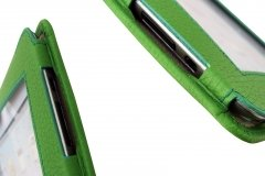 Funda en piel Ipad color verde - detalle lateral